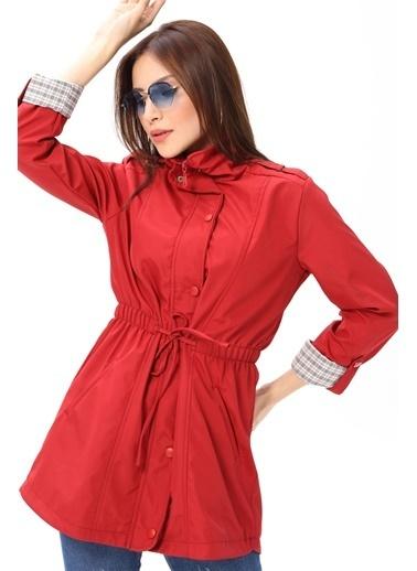 Modaplaza Kadın Beli Bağlamalı Kırmızı Trenchoat  Kırmızı